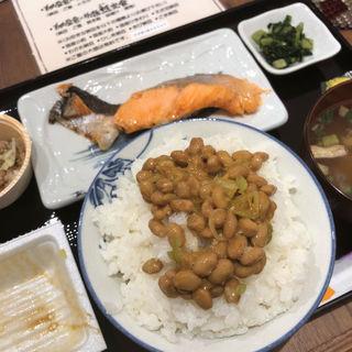 焼き鮭納豆食べ放題定食(納豆工房 せんだい屋 高円寺店)