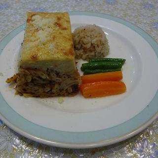 挽肉とパスタの重ね焼き(スパルタ(SPARTA))