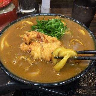鶏天一個カレーうどん(極楽うどん Ah-麺)