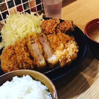 極リブロースカツ定食+鶏もも唐揚げ(サカヰ精肉店 経堂店 (【旧店名】 とんかつ坂井精肉店))