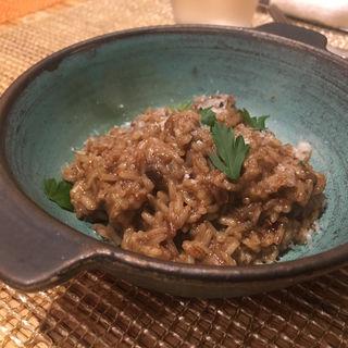 野生米を使ったポルチーニ茸のリゾット(ペペロッソ )
