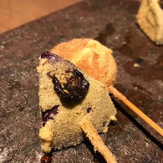 【黄金コース】串 - 本日のおすすめ四本 : 椎茸の肉詰め(こがね)
