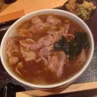 カレーうどん+味付け豚肉(駄文 (だもん))