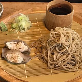 ざる蕎麦とこんにゃく寿司(文治郎)