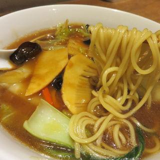 海老と豚肉団子・五目野菜の醤油あんかけ湯麺(中国菜 四合院 凛丹)