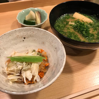 旬の御飯(セコ蟹)と味噌汁(車力門 ちゃわんぶ )