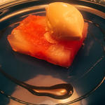 グレープフルーツのテリーヌ、アールグレイのアイスクリーム  シードルレディクション