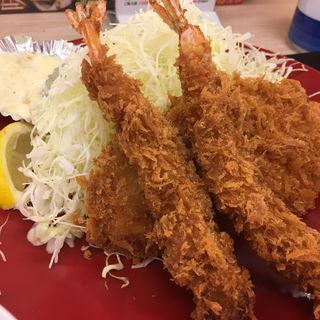 海老・ロースカツ定食(かつや 横浜市沢町店 )