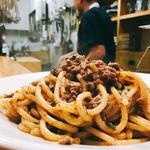 近江牛内臓の煮込みのスパゲティ
