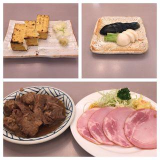厚揚げ焼き ぬか漬け まぐろ煮 ハムサラダ(食事処 酒肴 水口)