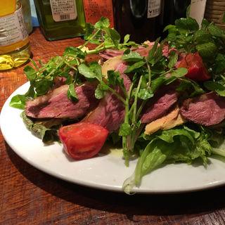 鴨とフォアグラのサラダ(煮こみや なりた)
