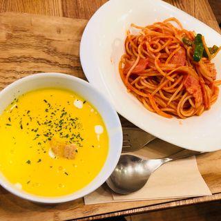 パスタセット(ナポリタン&パンプコーンスープ)(ベリー ベリー スープ アパホテル浅草橋店 (very berry soup))