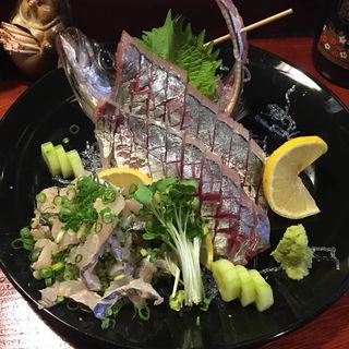 鯵と太刀魚の刺身(古里庵 )
