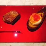 フォアグラソテー&トロッと卵の雲丹パフェ