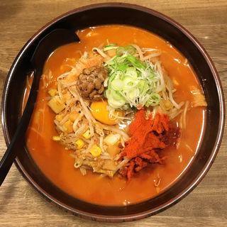 キムチ納豆ラーメン辛(柳家 仙台東口店 (やなぎや))