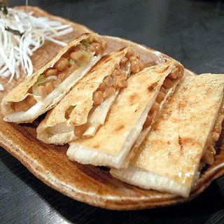 納豆と長芋のキツネ焼(串焼たつ )