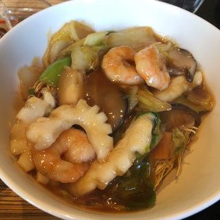 麺セット(海鮮あんかけカタソバ)(四川)