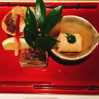 せいこ蟹と焼き鯖寿司と胡麻豆腐(ふくい 望洋楼 青山店 )