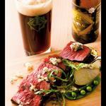 松阪牛の内もも肉のタリアータ三重の春野菜タイムと西洋わさび