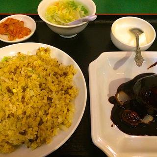 黒酢スブタ、炒飯定食(百香亭 筑波大学店 (ひゃっこうてい))