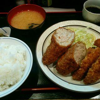 ハム・メンチカツ定食(三河屋 (みかわや))