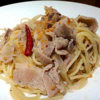 豚肉と生姜のペペロンチーノ