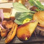 本日収穫の野菜の鉄板プレート