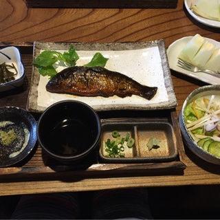 月山十割板そばと川魚の甘露煮、旬の天ぷら、特製野菜サラダ御膳