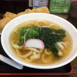 竹鶏天わかめうどん (極楽うどん Ah-麺)