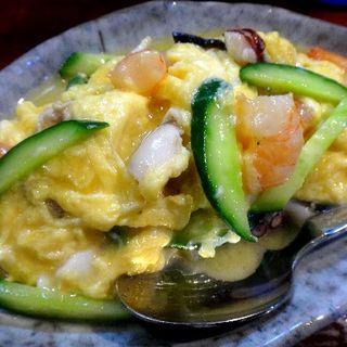 海老とたこの卵炒め(おだい処 近次)