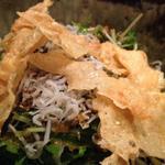 湯葉と水菜としらすのサラダ