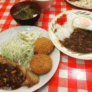 ポークソテー&海老クリームコロッケ&目玉焼定食(キッチンニュー早苗 )