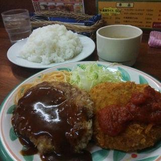ハンバーグ&チーズinメンチカツランチ(キッチンセブン 街のハンバーグ屋さん 浅草橋店 )