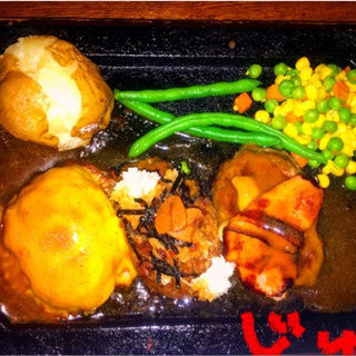 3種ハンバーグ(ゴールド ラッシュ 新宿東口店 (GOLD RUSH))