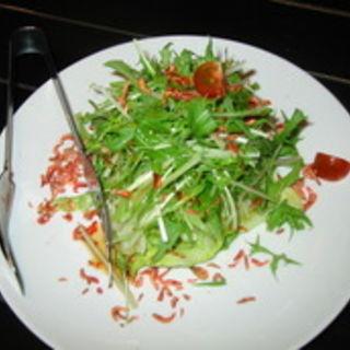 水菜と桜海老とレタスのカリカリサラダ(こてつ)