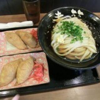 ぶっかけうどん(冷)+いなり寿司2個(さぬきうどん工房 麦笑)