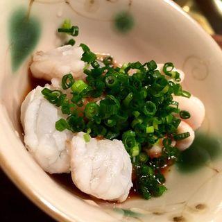 河豚の湯引き、鱈白子の酒蒸し(馬場頭 ふろ (ババガシラフロ))