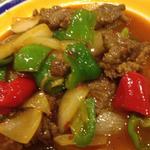 ラム肉とピーマンのトマトの炒め物
