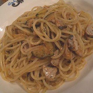 カツオとなすのオイルソーススパゲッティ