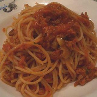 ツナとキノコのトマトスパゲッティ