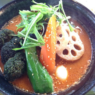 手ごねハンバーグと野菜のスープカレー(ドロッピン )