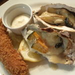 エビフライと牡蠣とかぼちゃのグラタンと牡蠣の素焼き