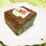 桜リキュールよもぎホワイトチョコがけケーキ