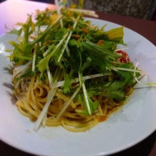 水菜とジャコのぺペロンチーノ(ピエノ)