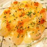 熟成真鯛のカルパッチョ グリーンペッパーソース