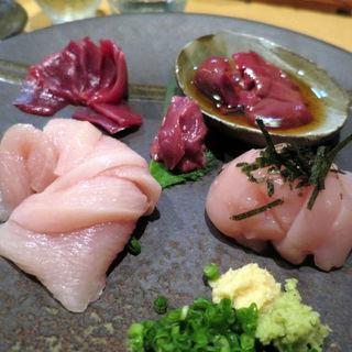 百日鶏のお刺身 五種盛り(ひろひろ )