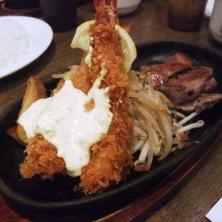 エビフライ&ステーキセット(ぶどう亭 )