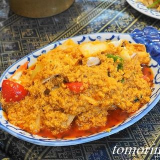 渡り蟹と卵のカレー炒め(ペンタイ)