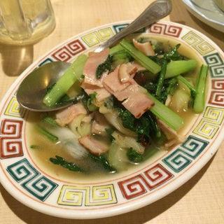 季節の青菜炒め(モツの朝立ち)