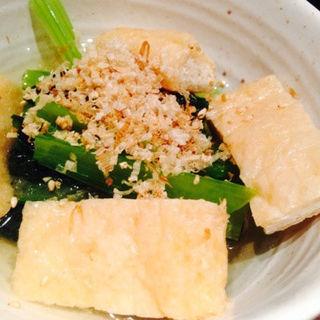 小松菜と油揚げの煮浸し(やきとり 鶴田)